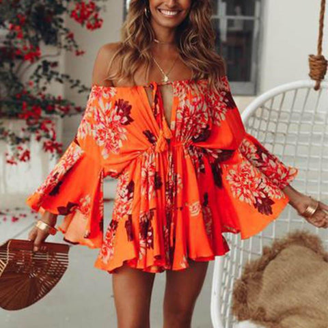 Fashion One Word Neck Print  Long Sleeve Dress