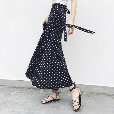 One-Piece Lace-Up Polka Dot Printed Chiffon Beach Skirt