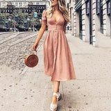 Sexy V Collar Middle Sleeve Band Swagger Casual Dress