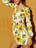 Long Sleeve Printing Sunflower Vacation Dress