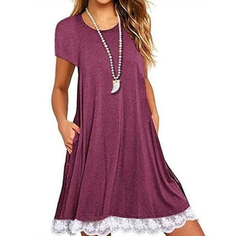 Round Neck  Patch Pocket Patchwork Shift Dress