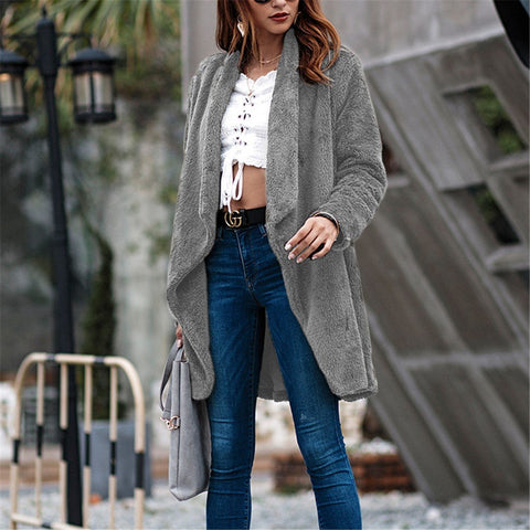 Mid-length plush cardigan coat