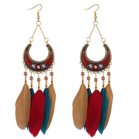 Bohemian Retro Crescent Feather Tassel Earrings