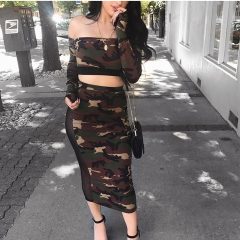 Sexy Camouflage Off Shoulder Long Sleeve Tube Crop Top Bodycon Skirt Suit