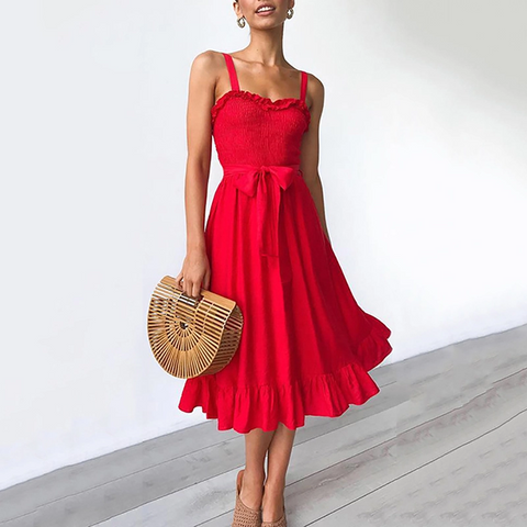Commuting Sleeveless Pleated Belted Off-Shoulder Ruffled Dress