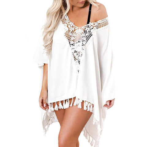 Female Hollow Crochet Loose Sun Protection Bikini Blouse