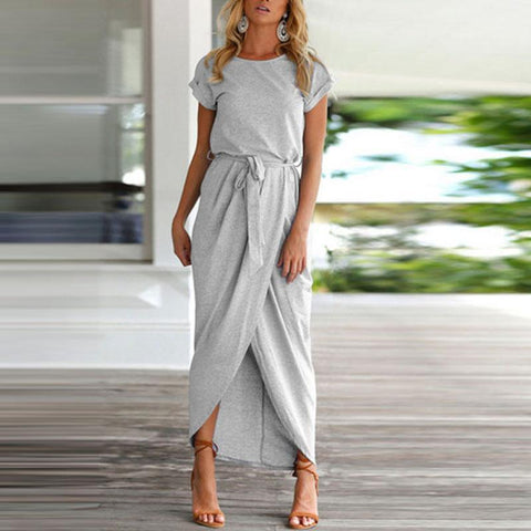 Asymmetric Hem  Plain  Maxi Dresses