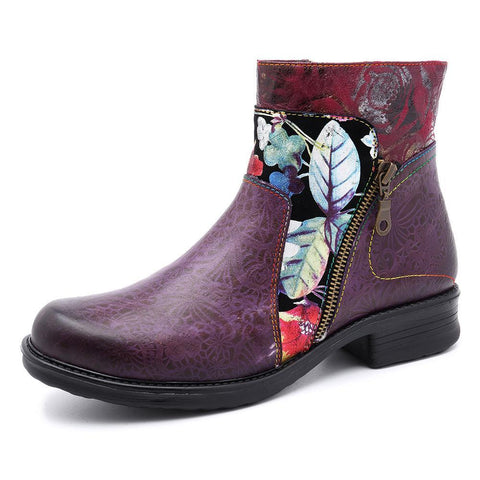 Leisure retro national style splicing flat-bottomed cowboy boots