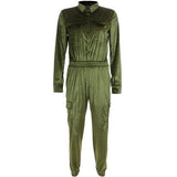 Velvet Pocket Fashion Tooling   Jumpsuit