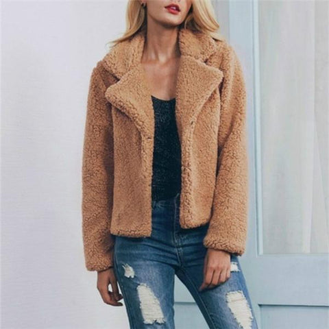Autumn and winter pure color foam cardigan jacket