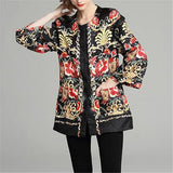 New autumn and winter thickened jacquard print coat Europe and the United States foreign trade dress is loose show thin overcoat