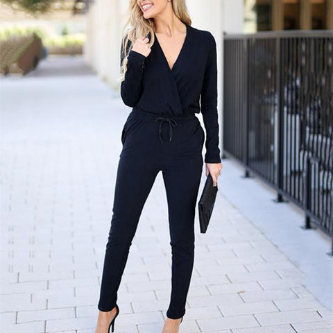 Fashion Casual Pure  Color V-Neck Long Sleeve Knit Slim Jumpsuit