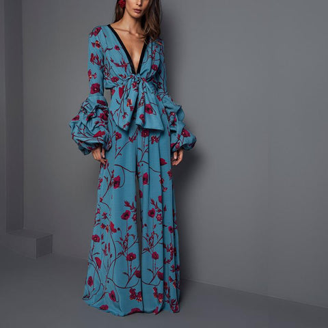 Sexy Deep V Collar Floral Printed  Jumpsuit
