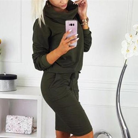 Fashion Casual Pure Color High Collar Waist Band Bodycon Dress