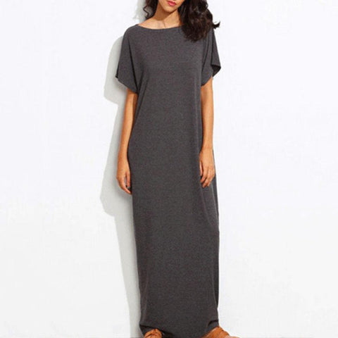 Casual Short Sleeved Maxi Shift Dresses