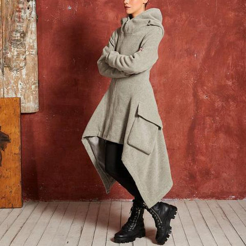 Fashion Personality Irregular Long Hooded Sweater Trench Coat