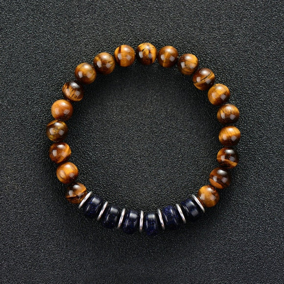 Men Bracelet 8MM Tiger Eye with Blue Sand Stone