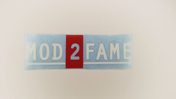 Mod2Fame Decal - White Letter Red Box
