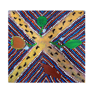 "z Art Canvas - ""Bush Food"" Aboriginal Painting by Anne Marre Curtis"