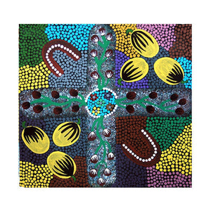 "z Art Canvas - ""Women's Business"" Aboriginal Painting by Dorthy Napangardi"