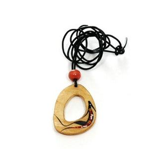 z Necklace - Handpainted Bone - Oval Shaped