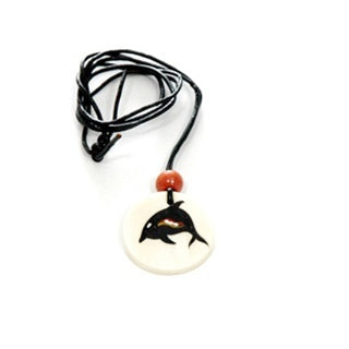 z Necklace - Handpainted Bone - Round Shaped