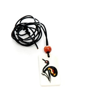 z Necklace - Handpainted Bone - Rectangle Shaped