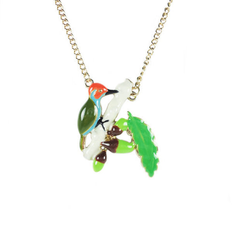 Bird with Leaves Necklace