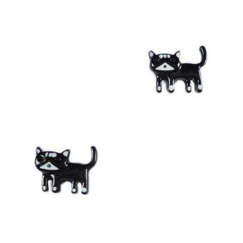 Black Kitty Stud Earrings