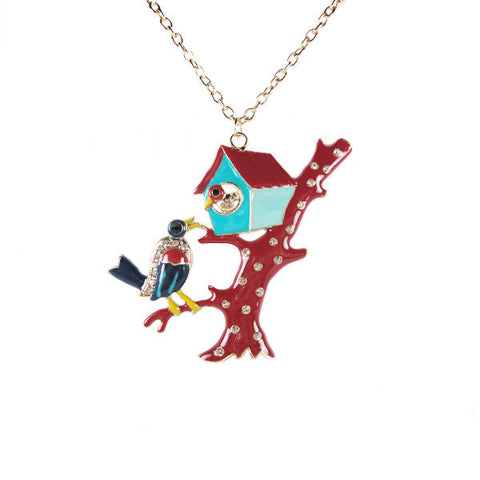 Bird Family on Tree Necklace