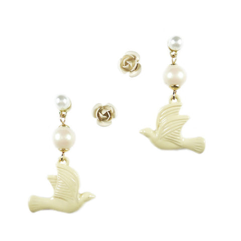 Dove and Rose Stud Earring Set