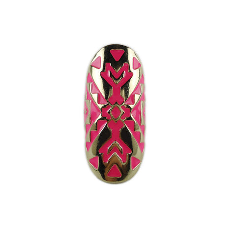 Pink Pattern Gold Ring