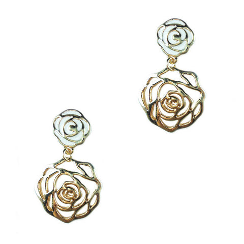 Double Rose Stud Earrings