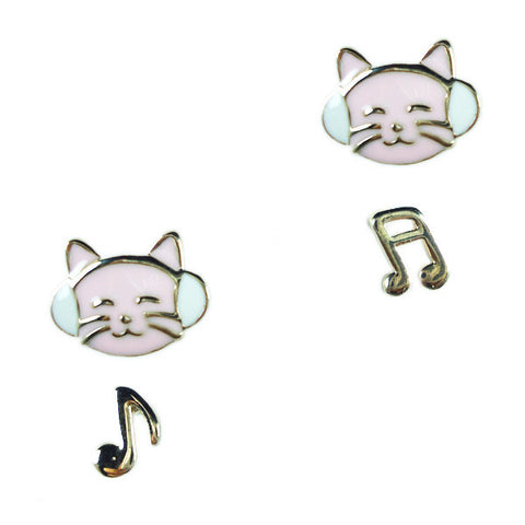 Kitty Music Stud Earrings
