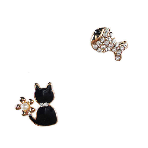 Cat and Fish Stud Earrings