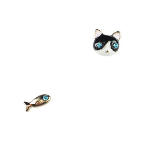 Cat Face and Fish Stud Earrings