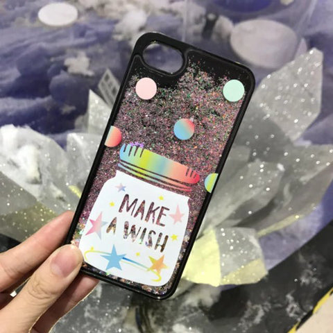 Glitter Waterfall Phone Case - Black - Wish Bottle