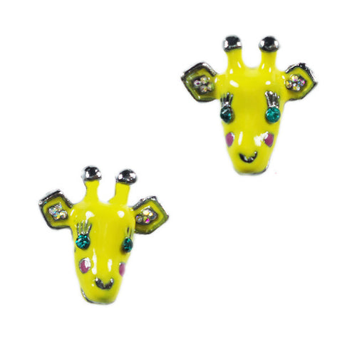 Yellow Giraffe Stud Earrings