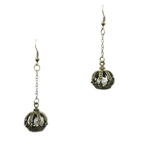 Pearl inside Crown Earrings