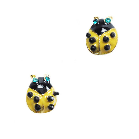 Yellow Ladybug Stud Earrings