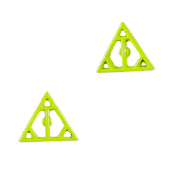 b20e2c2545db5 Neon Hollow Out Triangle Stud Earrings