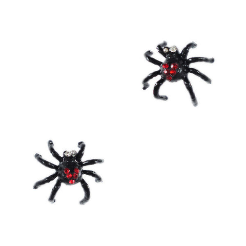Black Spider with Red Heart Stud Earrings