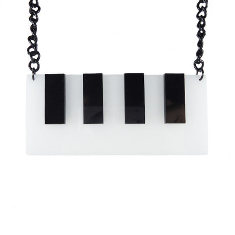 Piano Keyboard Laser Cut Necklace
