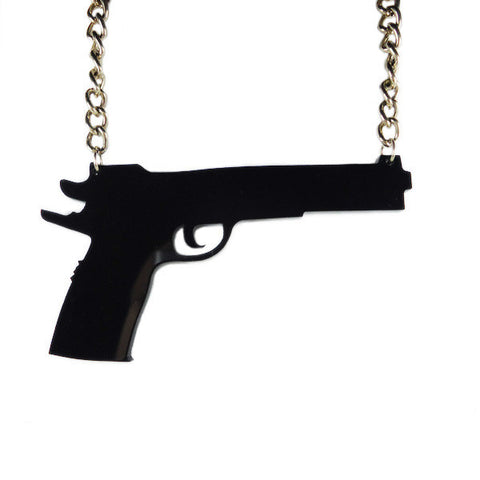 Black Gun Laser Cut Necklace