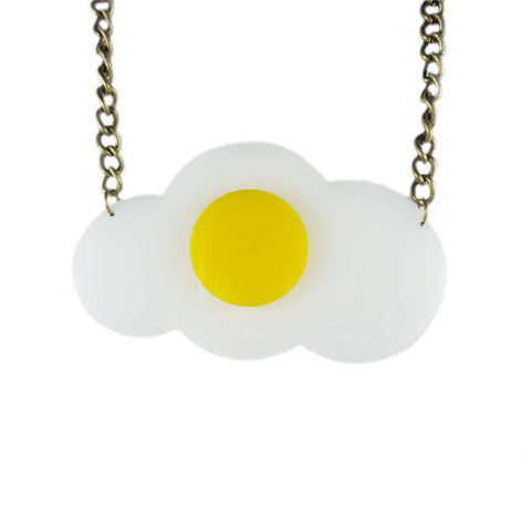 Sunny Side-Up Egg Laser Cut Necklace