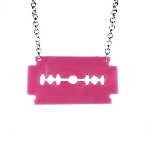 Double Edge Razor Blade Laser Cut Necklace