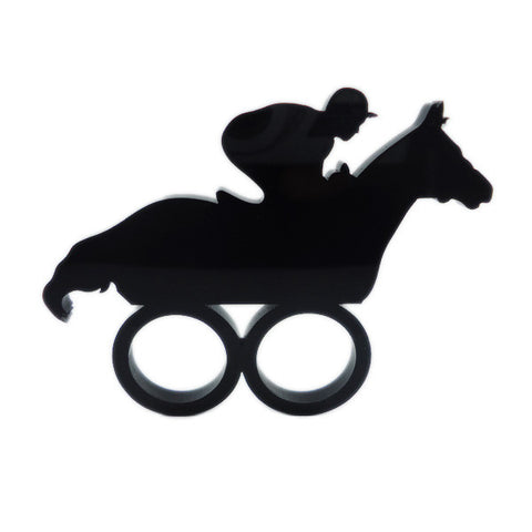 Horse Race Laser Cut Two-Finger Ring