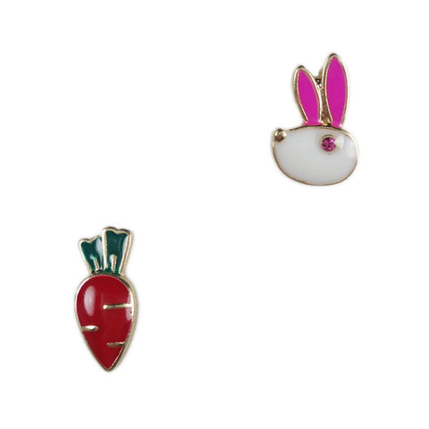 Rabbit and Carrot Stud Earrings