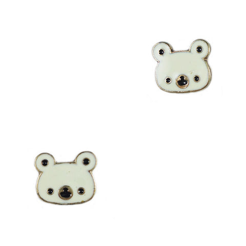 White Koala Stud Earrings
