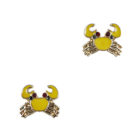 Yellow Crab Stud Earrings